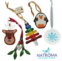 Handmade Fused Glass Christmas Decorations